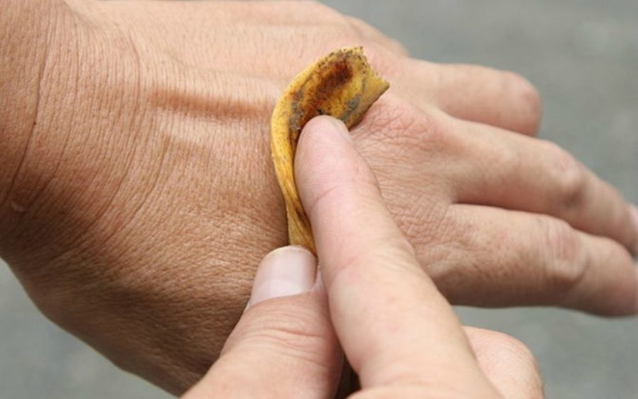 Прикрытие шкуркой банана папилломы